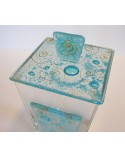 Bomboniera scatola grande in vetro con applicazione e coperchio in vetrofusione dettaglio