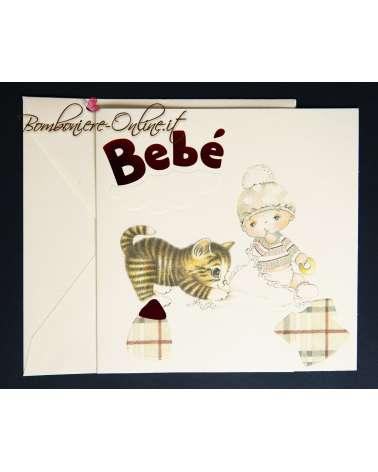 Annuncio nascita o invito battesimo bebè con micio