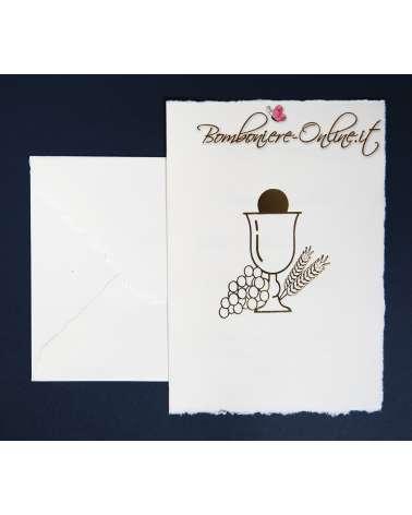 Invito Prima Comunione carta a mano con decoro dorato