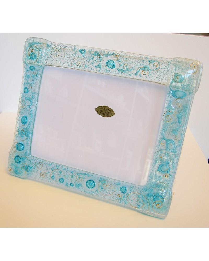 Bomboniera matrimonio portafoto grandei in vetrofusione blu con bollicine