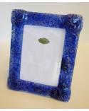 Bomboniera portafoto verticale in vettrofusione blu scuro con riccioli color oro