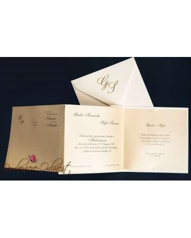 Partecipazione matrimonio con invito incluso Sposi classic