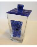 Bomboniera vaso in vetro con apllicazioni e coperchio in vettrofusione blu scuro con riccioli color oro