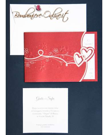 Partecipazione matrimonio con invito incluso bordeaux con cuori