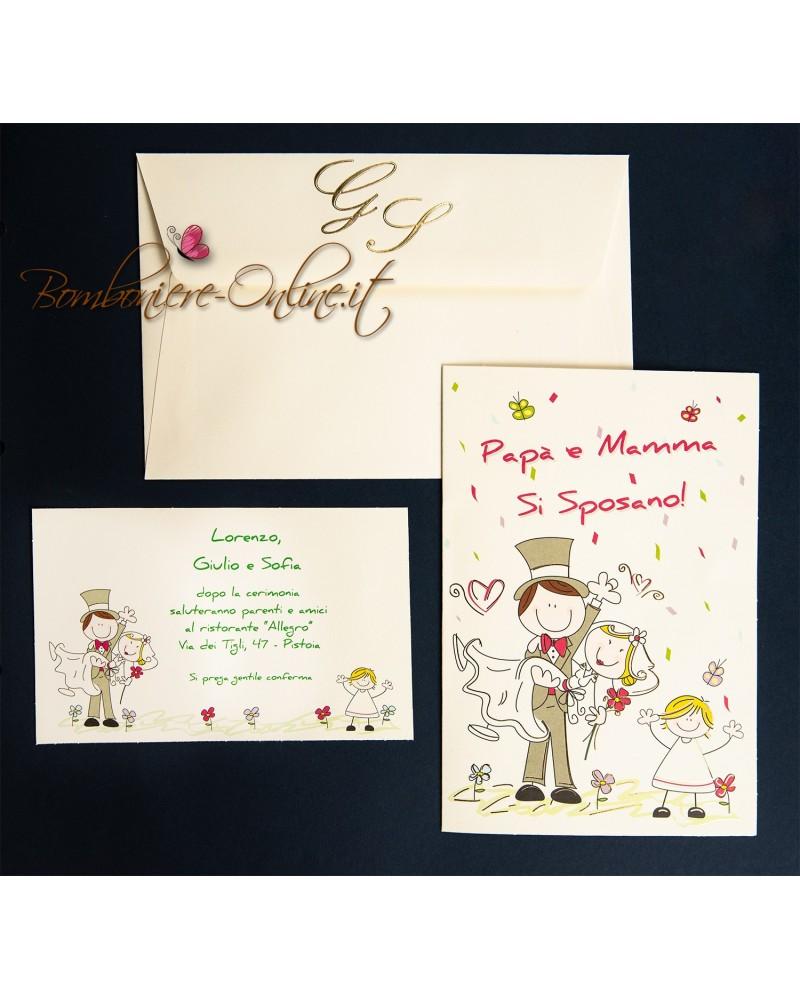 Partecipazioni Matrimonio Mamma E Papa Si Sposano.Partecipazione Matrimonio Mamma E Papa Si Sposano