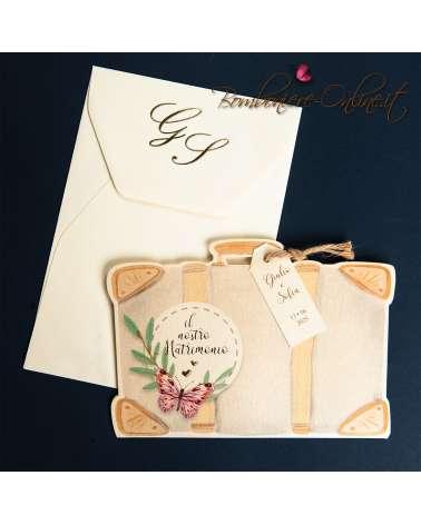 Partecipazione matrimonio con invito valigia con tag