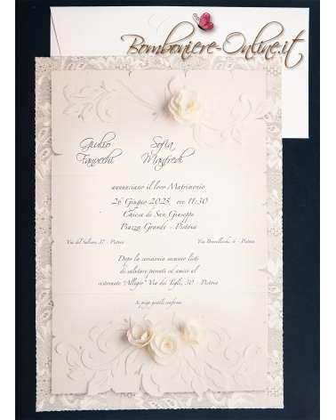 Partecipazione matrimonio rose di carta e pizzo