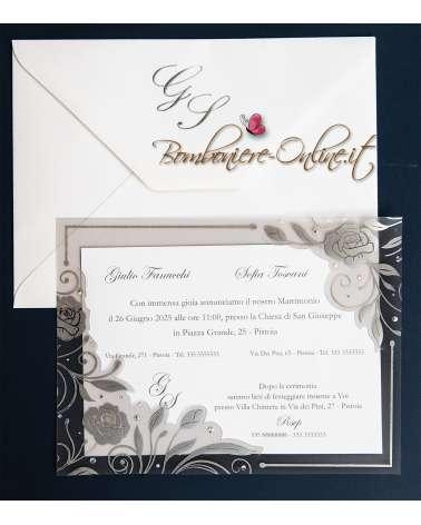 Partecipazione nozze con supporto trasparente rose e strass