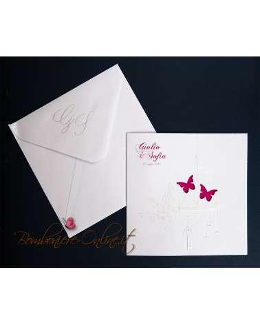 Partecipazione nozze gabbia con farfalle