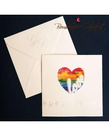 Partecipazione nozze civili cuore arcobaleno