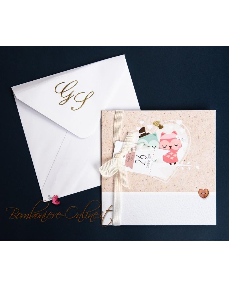 Partecipazioni Matrimonio Klimt.Partecipazione Matrimonio Gufetti