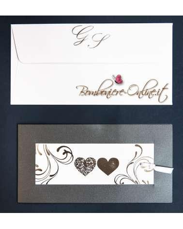 Partecipazione matrimonio cuori argento con invito incluso