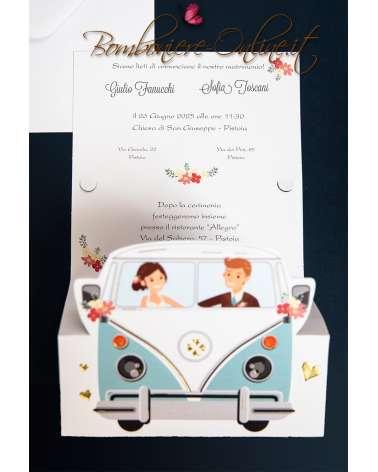 Partecipazioni Matrimonio Hippie.Partecipazione Matrimonio Pulmino Vintage Wolkswagen T2