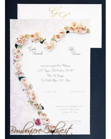 Partecipazione matrimonio roselline classiche