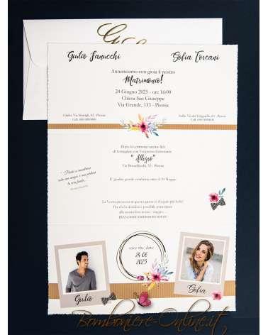Partecipazione nozze grafica fotografica moderna