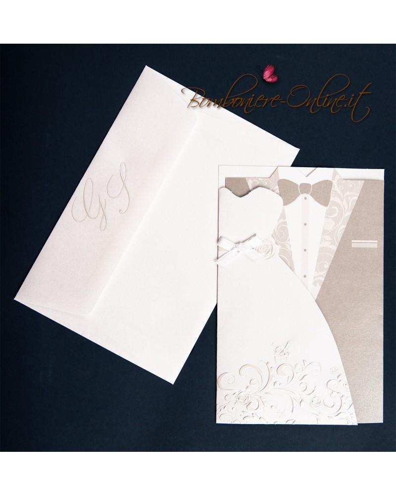 Partecipazioni Matrimonio Klimt.Partecipazione Nozze Abito Sposa E Sposo