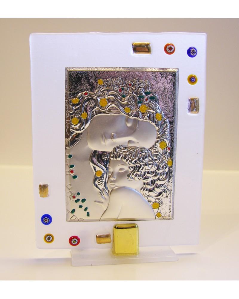 """Quadretto piccolo vetrofusione con placca argento """"Klimt - La Maternità"""""""