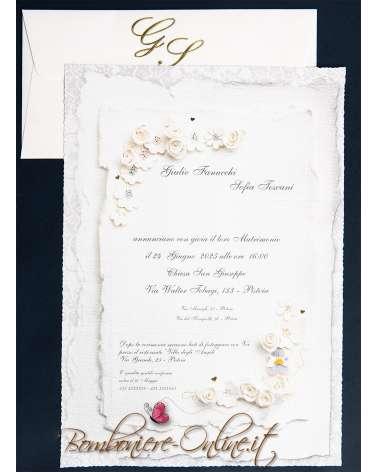 Partecipazione fiorellini di carta