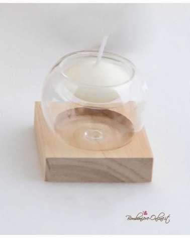 Bomboniera Matrimonio, Battesimo o Cresima. Portacandela piccolo in vetro e legno con astuccio coordinato