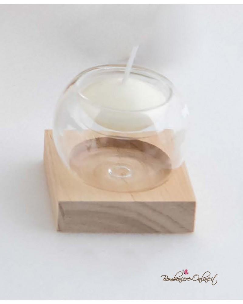 Bomboniera portacandela piccolo in vetro e legno con astuccio coordinato