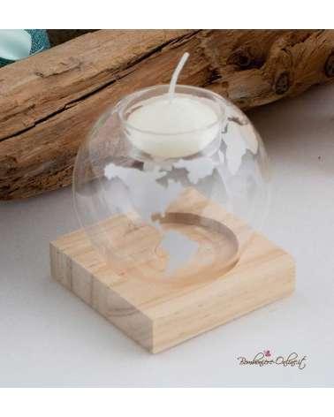 Bomboniera portacandela medio in vetro e legno con astuccio coordinato