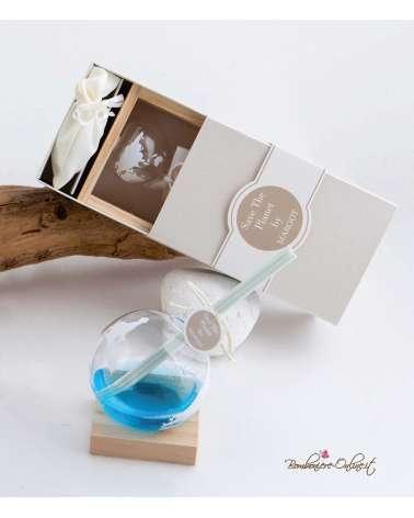 Bomboniera profumatore mondo medio con legno con astuccio coordinato