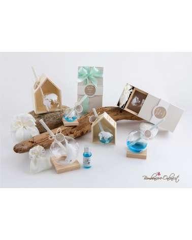Bomboniera profumatore mondo con casetta di legno piccolo con astuccio coordinato