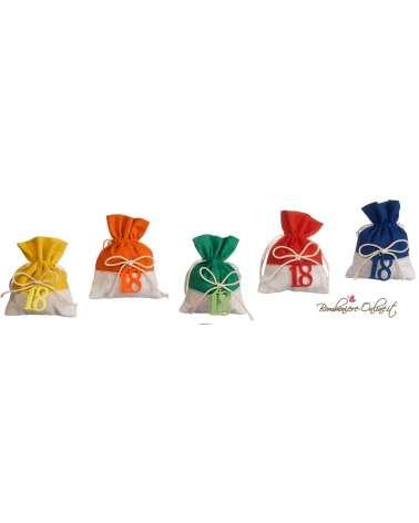 18° COMPLEANNO sacchetto con applicazione in panno lenci in colori assortiti