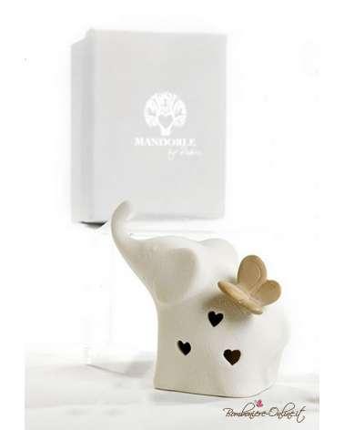 Bomboniera elefante bianco stilizzato con luce in porcellana con farfalla