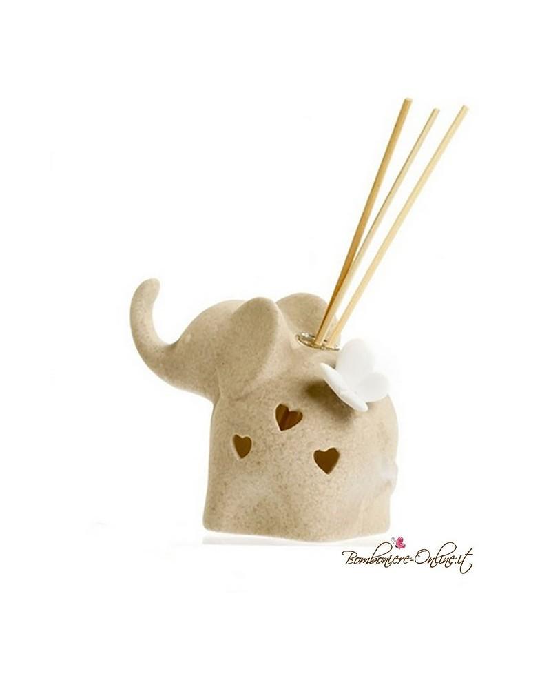 Bomboniera Diffondi profumo elefante stilizzato in porcellana con farfalla