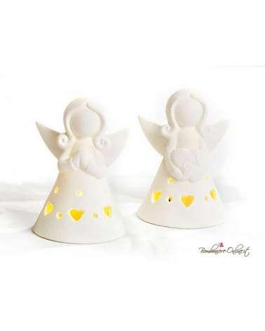 Bomboniera angelo stilizzato con luce in porcellana bianca