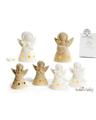 Bomboniera angelo stilizzato con luce in porcellana