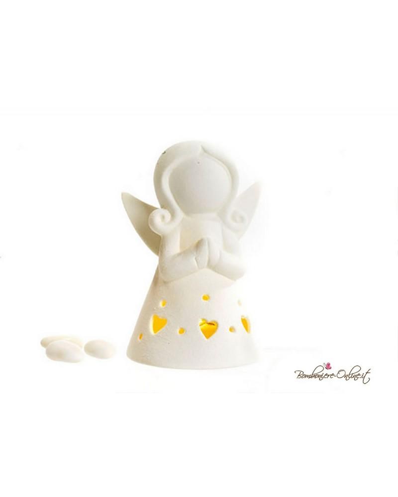 Bomboniera angelo stilizzato con luce in porcellana bianca misura media
