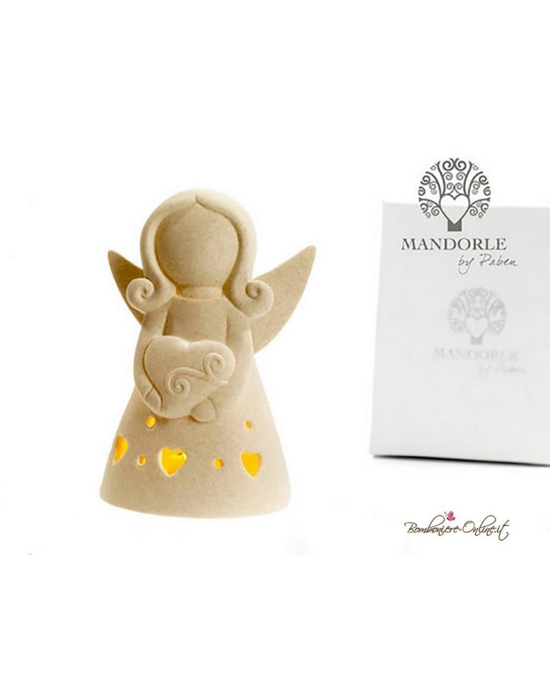 Bomboniera angelo stilizzato con luce in porcellana misura media