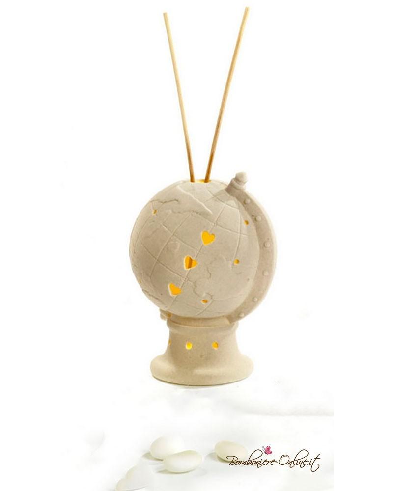 Bomboniera mappamondo diffusore per ambienti con luce in porcellana bisquit