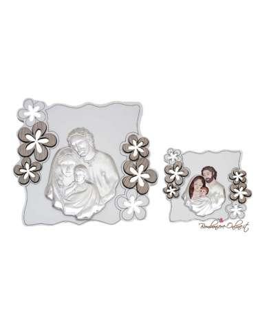 Bomboniera quadro piccolo Sacra Famiglia motivo fiori