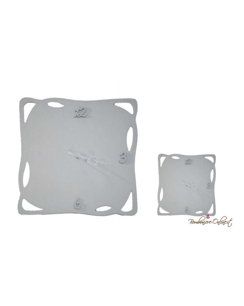 Orologio bianco 40 x 40 con bordo decoro laser