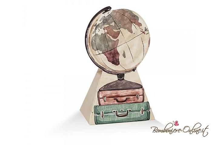 Scatolina portaconfetti con valige e mappamondo